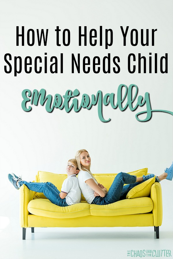"a mother and son both in white shirt and jeans sit back to back on a yellow couch with text that reads ""How to Help Your Special Needs Child Emotionally"""