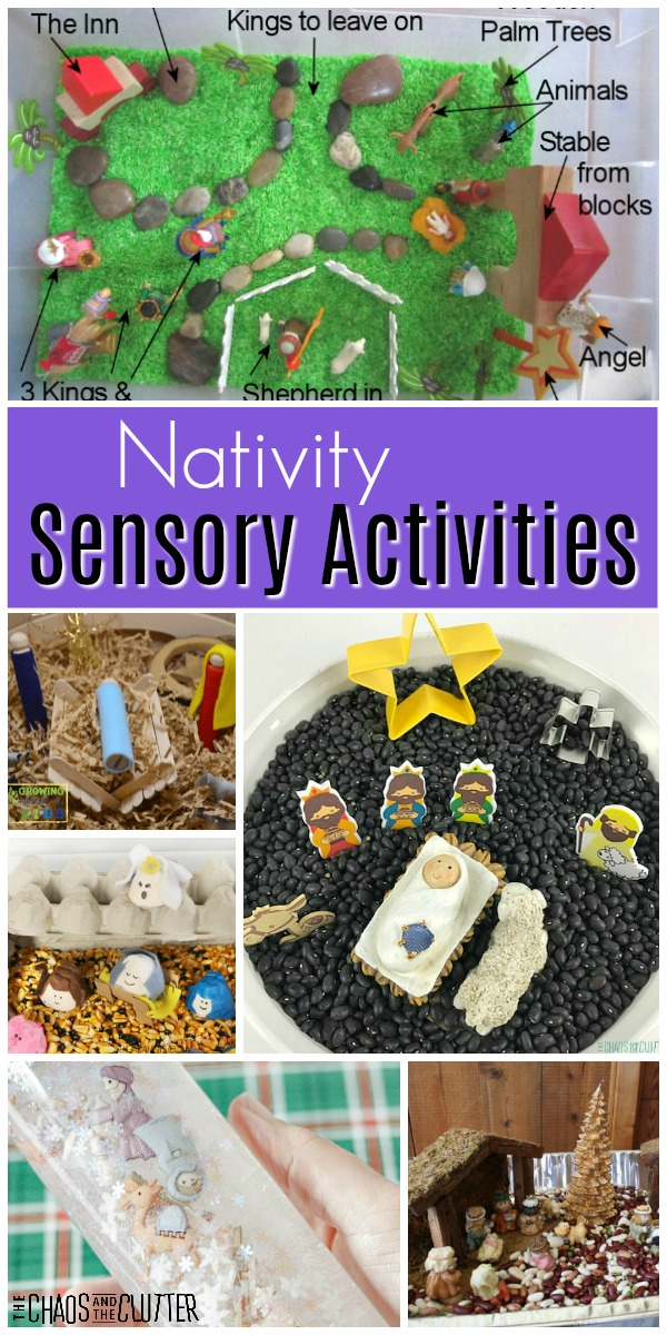 "a collage of different children's play opportunities with text that reads ""Nativity Sensory Activities"""