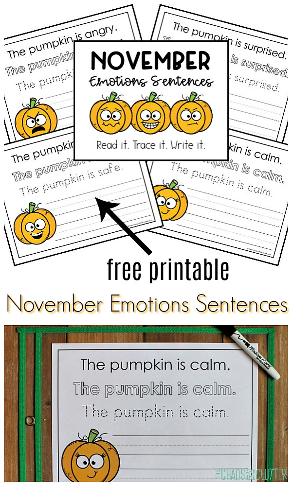 "collage of worksheets with pumpkin faces on them and text that reads ""free printable November Emotions Sentences"""
