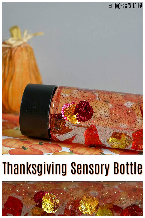 "bottle filled with clear liquid and red, orange and yellow glitter turkeys next to an orange gourd with text that reads ""Thanksgiving Sensory Bottle"""