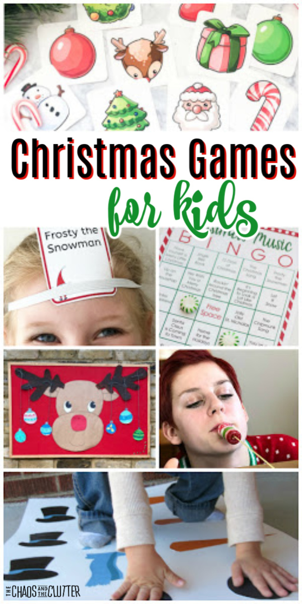 "a collage of images of different holiday activities with text that reads ""Christmas Games for Kids"""