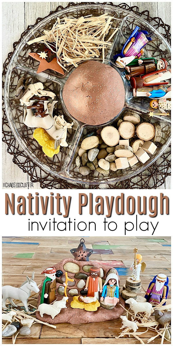 "divided tray with playdough and nativity figures and natural pieces with text that reads ""Nativity Playdough invitation to play"""