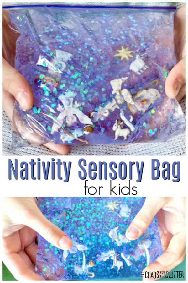 "plastic bag filled with light purple liquid, glitter, and nativity figures with text ""Nativity Sensory Bag for kids"""