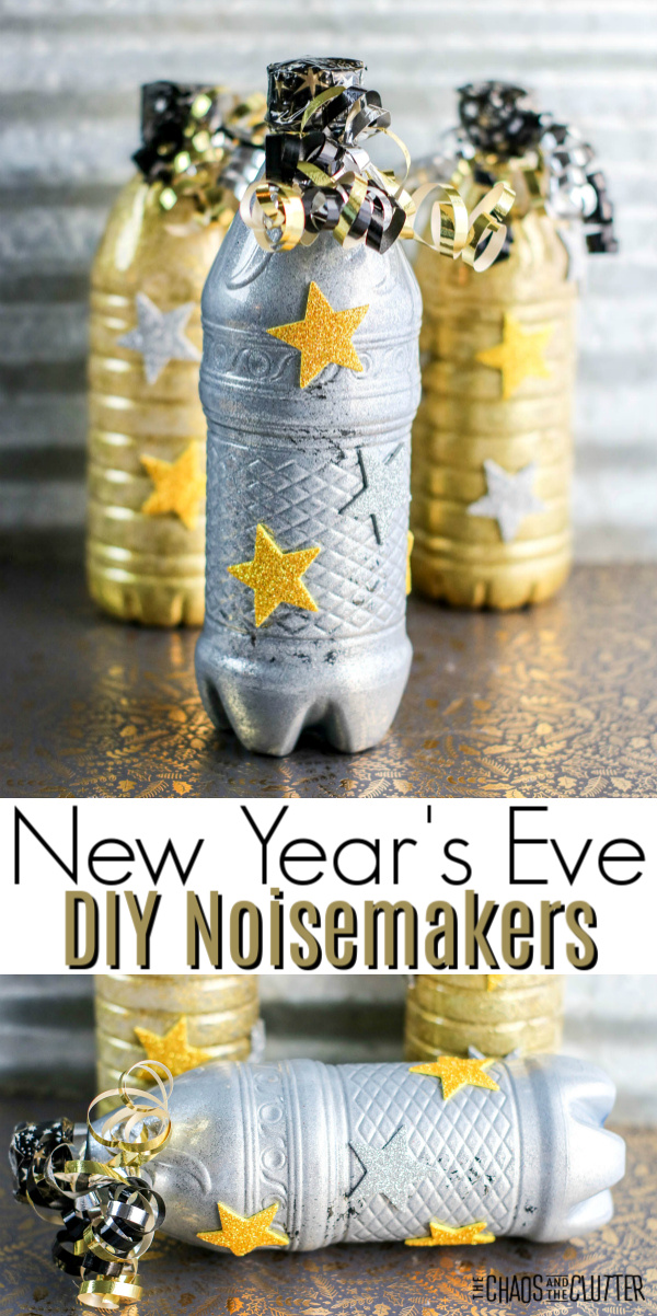 "gold and silver bottles with stars and curly streamers and text reading ""New Year's Eve DIY Noisemakers"""