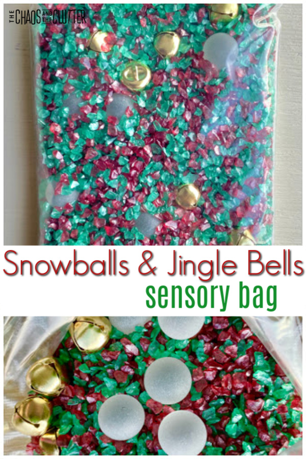 "clear plastic bag filled with red and green rocks, gold jingle bells, and frosted balls with text ""Snowballs & Jingle Bells sensory bag"""