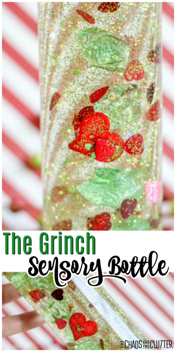 "striped white and red background with a clear bottle with green glitter and red hearts with text that reads ""The Grinch Sensory Bottle"""