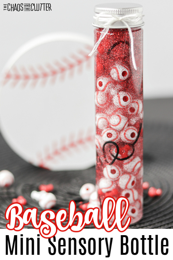 "baseball in background and small clear bottle filled with liquid and mini baseballs and text that reads ""Baseball Mini Sensory Bottle"""