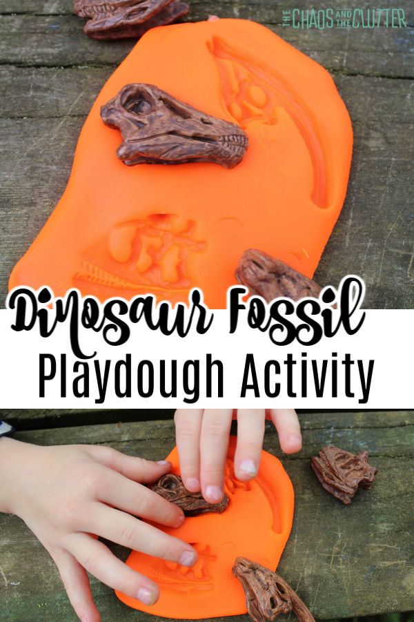 "orange playdough with little hands pressing a dinosaur skull into it with text that reads ""Dinosaur Fossil Playdough Activity"""