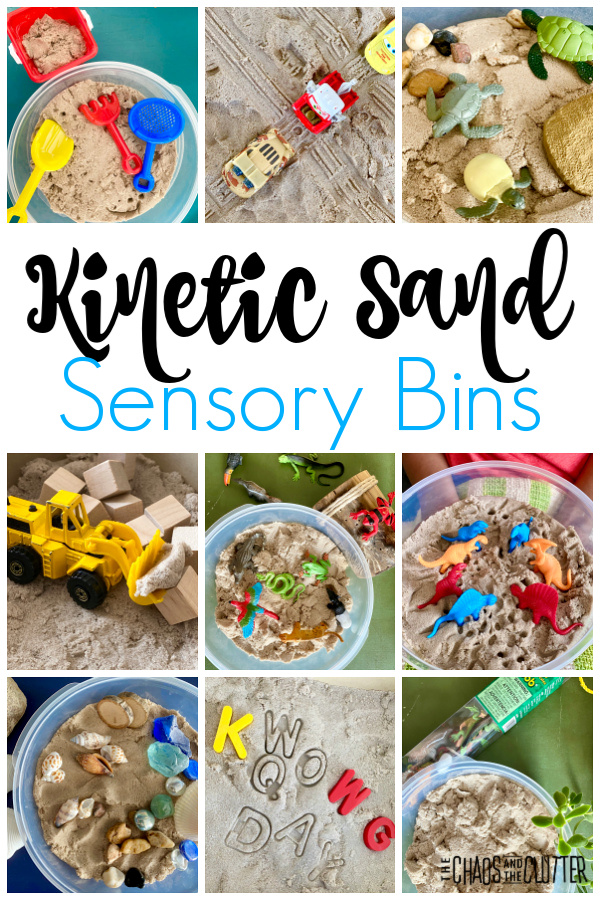 "collage of photos of many types of sensory play experiences with the same base and text that reads ""Kinetic Sand Sensory Bins"""