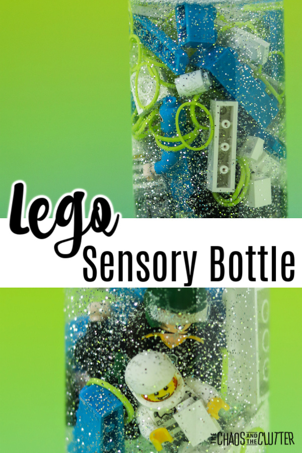 "blue, green, and white building bricks in liquid in a bottle with text that reads ""Lego Sensory Bottle"""