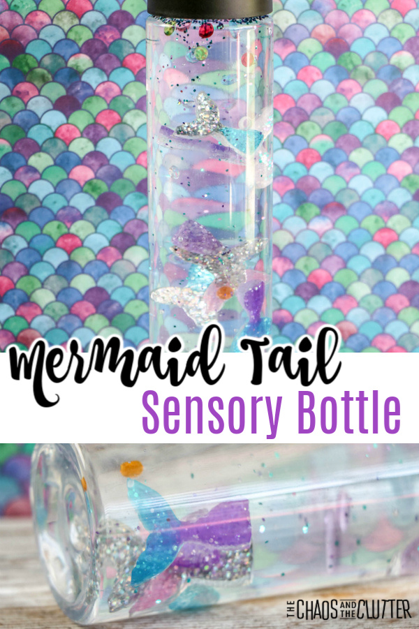 "multicoloured background with a clear bottle with glitter and foil and text that reads ""Mermaid Tail Sensory Bottle"""