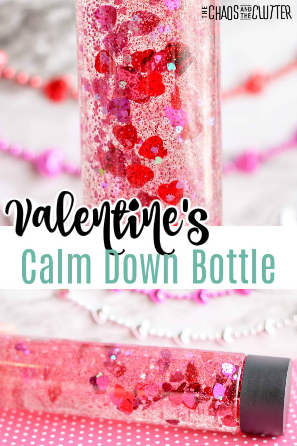"""strings of red and pink beads in back with a clear plastic bottle with heart confetti and pink glitter with text that reads """"Valentine's Calm Down Bottle"""""""