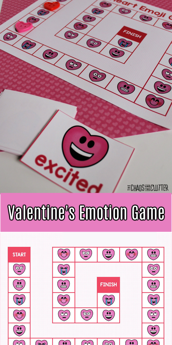 "printed paper game with emoji hearts and text that reads ""Valentine's Emotion Game"""