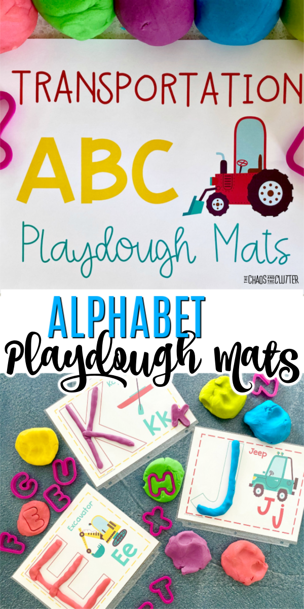 "balls of different colours of playdough sitting on a paper that says ""Transportation Alphabet Playdough Mats"" with a picture of a red tractor"
