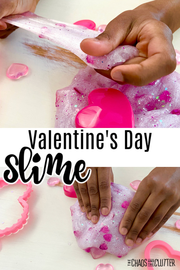 "little hands stretch out slime with hearts. Text reads ""Valentine's Day Slime"""