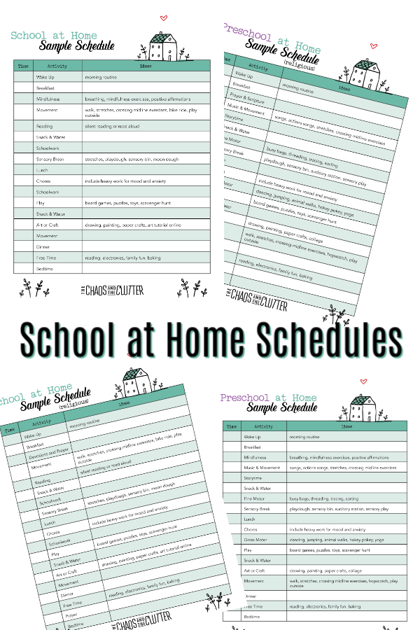 Sample School at Home Schedules