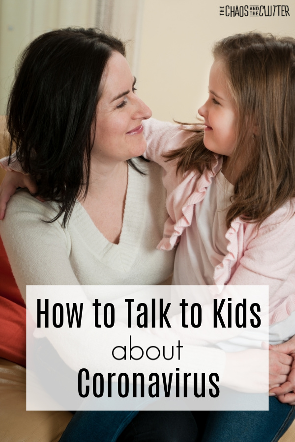 "Brunette mother comforts child. Text reads ""How to Talk to Kids About Coronavirus"""