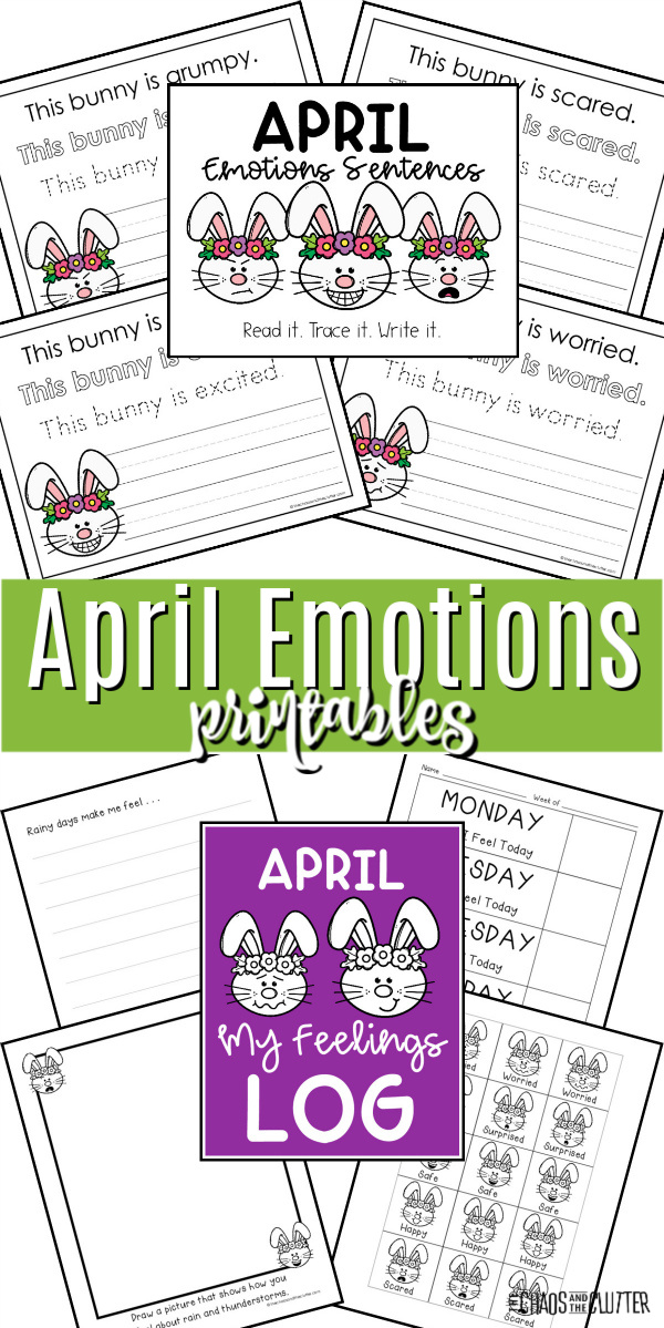 April Emotions printables collage of pages printed out