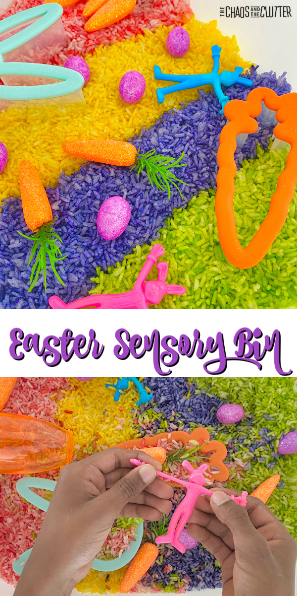 "brightly coloured rice with toy eggs and carrots. Text reads ""Easter Sensory Bin"""