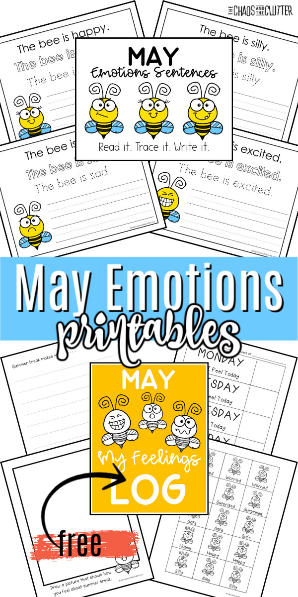 "printed worksheets laid out. Text reads ""May Emotions printables"""