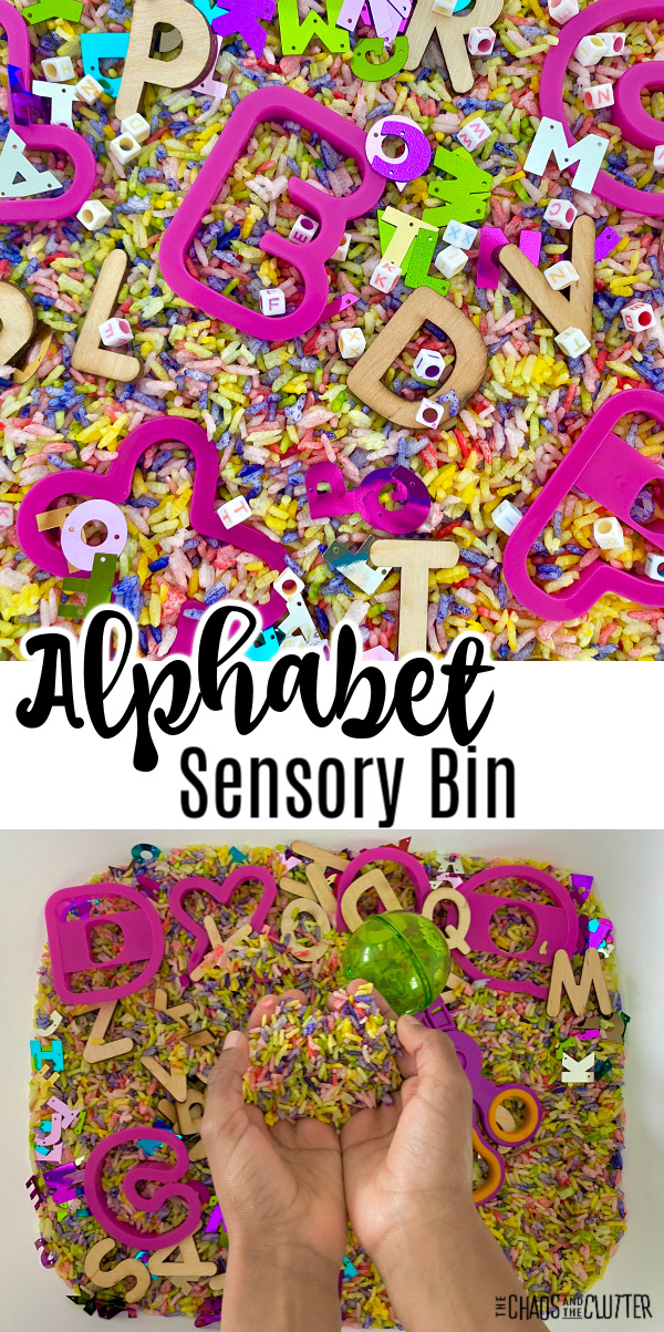 "multi coloured rice with bright pink letter cookie cutters. Text reads ""Alphabet Sensory Bin"""