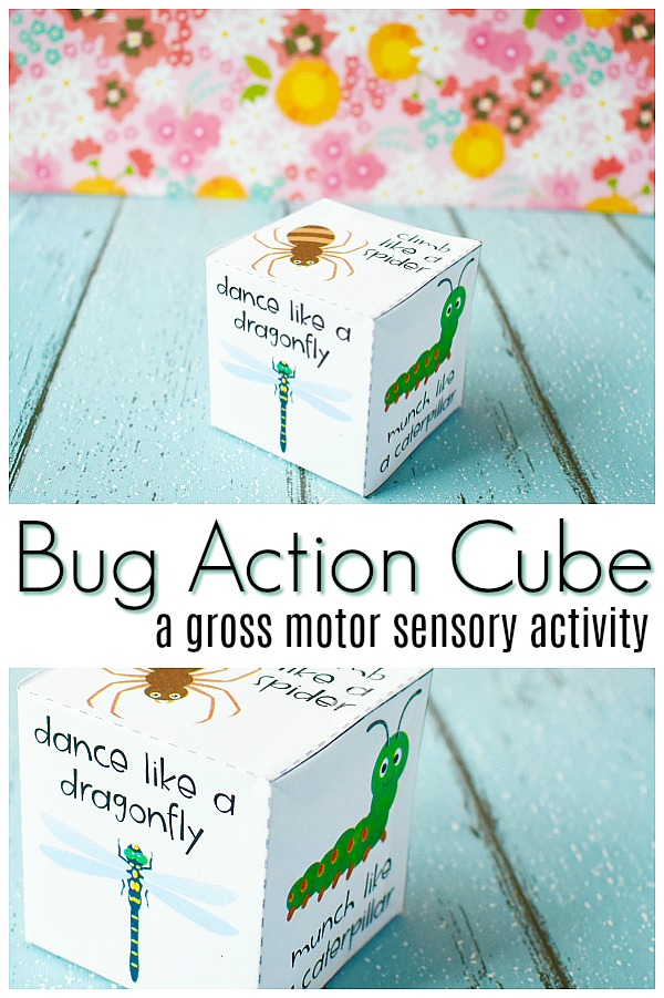 "paper cube on teal wood with flower background. Text reads ""Bug Action Cube a gross motor sensory activity"""