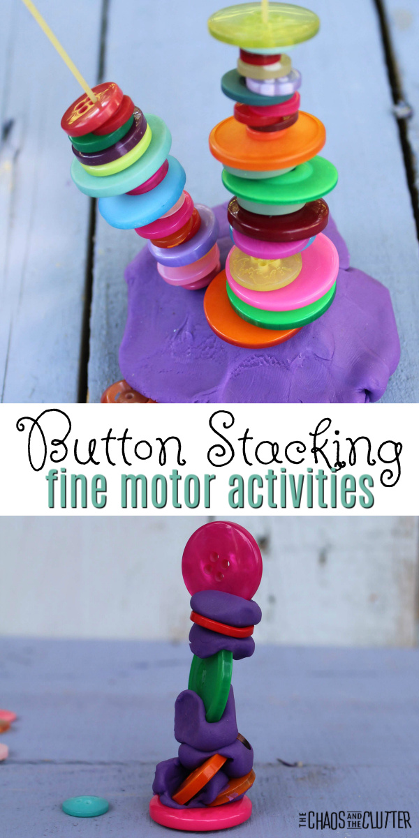 "colourful buttons on a dry spaghetti noodle and others stacked on playdough. Text reads: ""Button Stacking fine motor activities"""