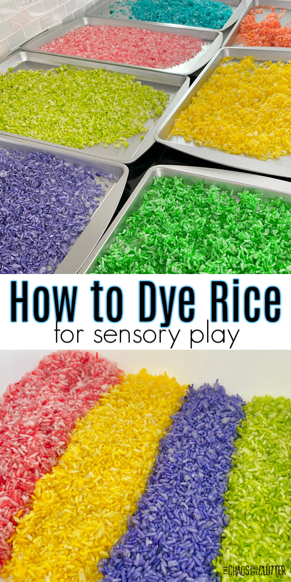 "metal trays with purple, green, pink, blue, yellow, and orange rice. Text reads ""How to Dye Rice for sensory play"""