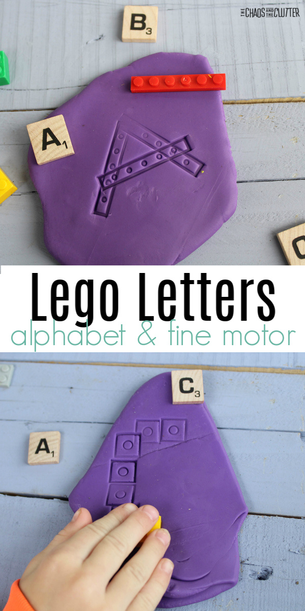 "purple dough with a little hand pressing a Lego piece in to create an A. Text reads ""Lego Letters alphabet and fine motor"""