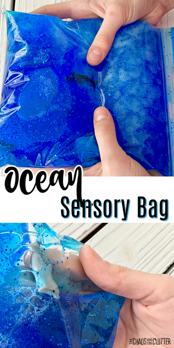 "thumbs squish a bag with blue gel with a toy shark inside. Text reads ""Ocean Sensory Bag"""