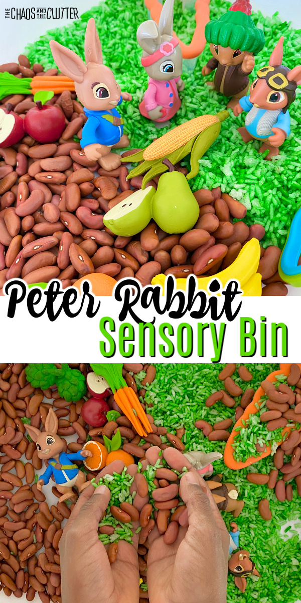"beans and green rice with toy vegetables and bunny figurines. Text reads ""Peter Rabbit Sensory Bin"""