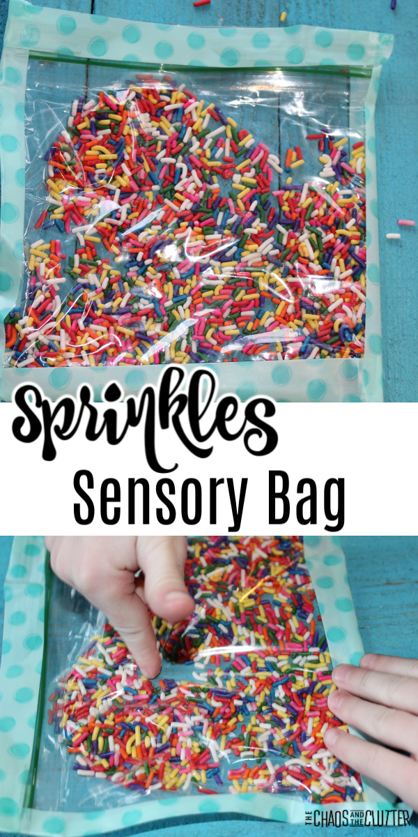 "clear bag with blue edges filled with colourful sprinkles. Text reads ""Sprinkles Sensory Bag"""