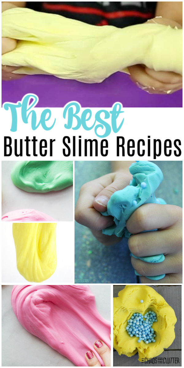 "collage of different colours and shapes of slime. Text reads ""The Best Butter Slime Recipes"""
