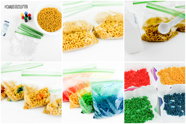 dry noodles in a clear plastic bag being dyed red, yellow, green, and blue