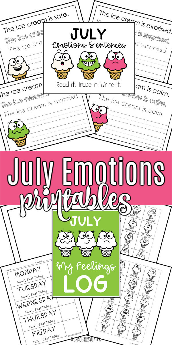 "collage of pages with ice cream cones and printing. Text reads ""July Emotions printables"""