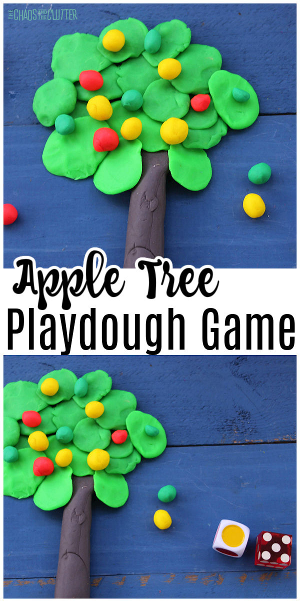 "tree made out of playdough with coloured balls of playdough. Text reads ""Apple Tree Playdough Game"""