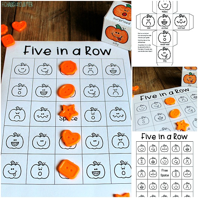 collage of printed pumpkin game for kids