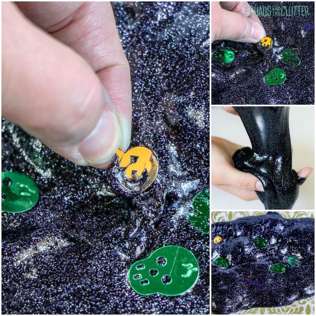 thumb pulls pumpkin confetti out of black slime