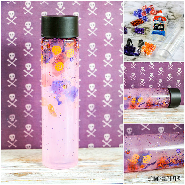 collage of supplies and finished project of a Halloween sensory bottle