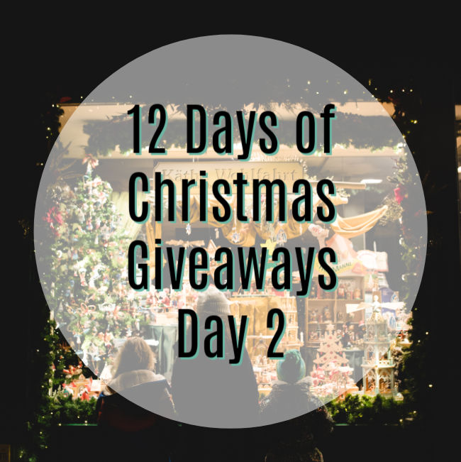 "white circle overlay on dark background. Text reads ""12 Days of Christmas Giveaways Day 2"""