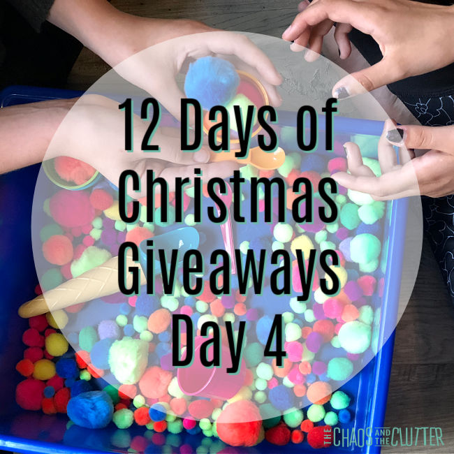 "circle overlay on a photo of hands playing with pompoms. Text reads ""12 Days of Christmas Giveaways Day 4"""
