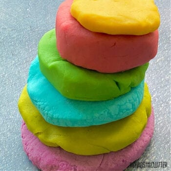 balls of playdough in 6 colours stacked on top of each other