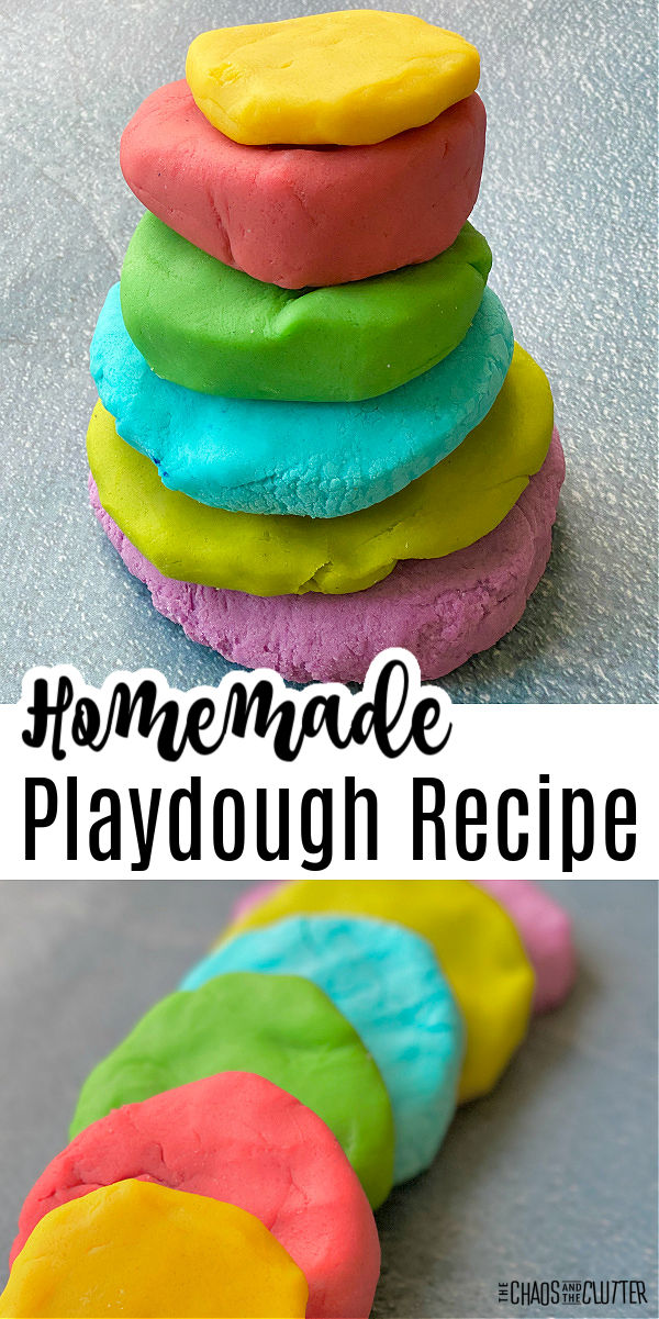 "6 different colours of playdough balls stacked on top of each other. Text reads ""Homemade Playdough Recipe"""