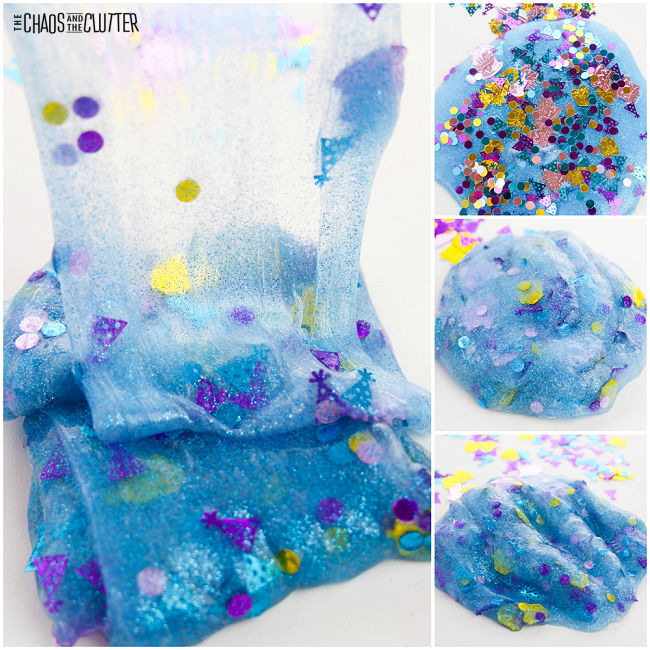 collage of photos of blue slime with birthday confetti in it