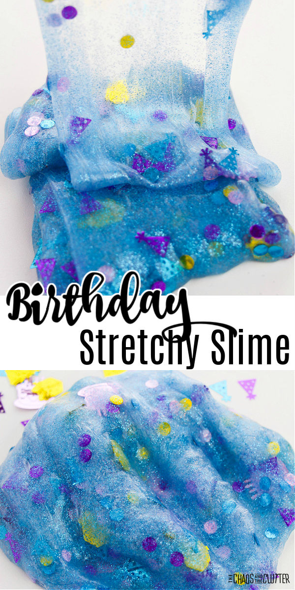 "stretched out blue slime with confetti in it. Text reads ""Birthday Stretchy Slime"""
