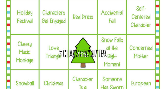 green and white holiday bingo card