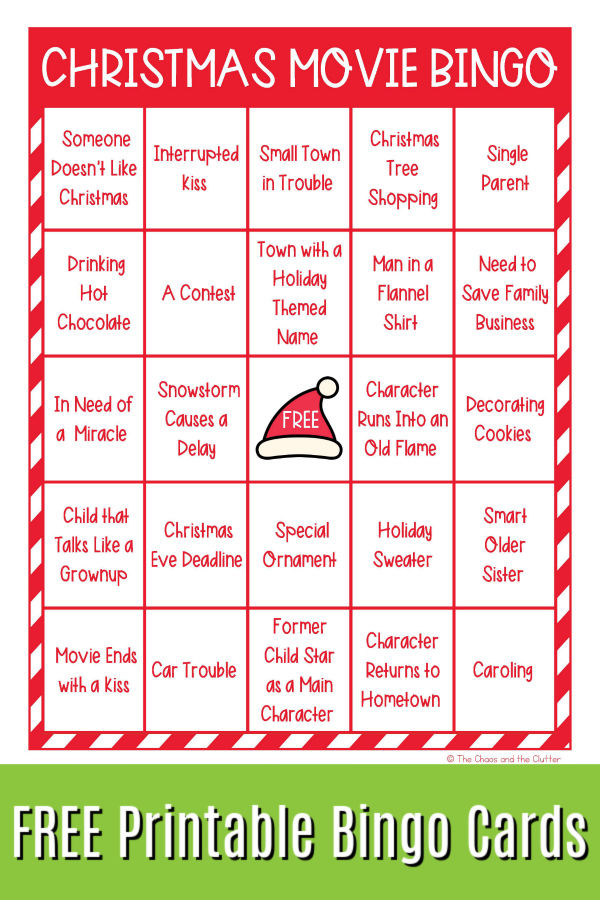 "red and white grid text reads ""Christmas Movie Bingo FREE Printable Bingo Cards"""