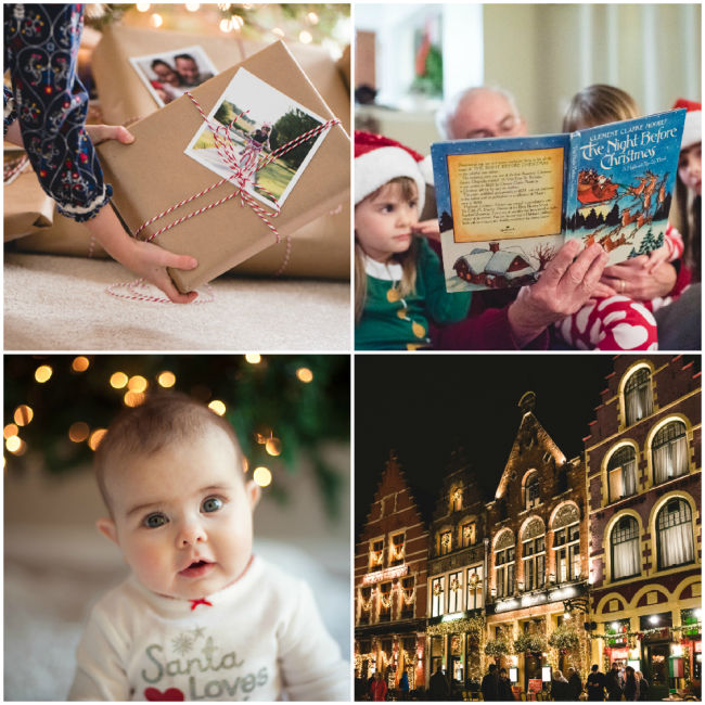 collage of four Christmas photos including a baby in front of a tree