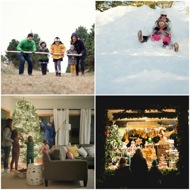 a collage of four holiday photos including a mom and daughter tobogganing