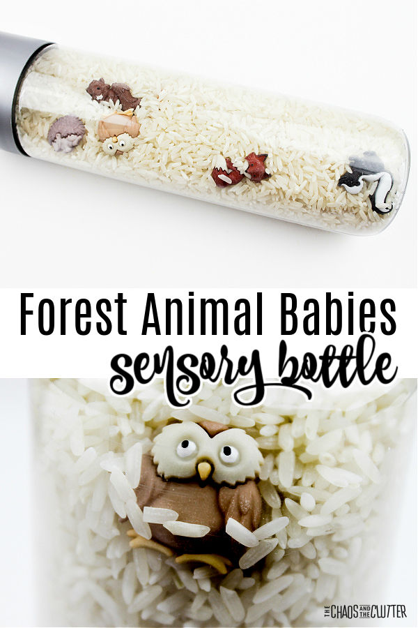 "clear bottle with white rice and mini animals in it. Text reads ""Forest Animal Babies sensory bottle"""